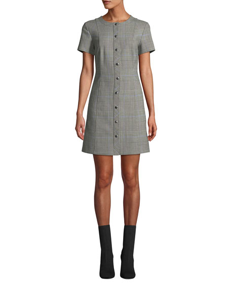 c61b4204238 Theory Easy Snap-Front Windowpane Shift Dress