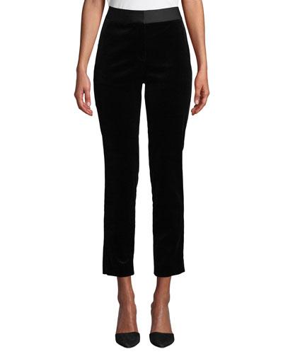 Stretch Velvet Straight Trousers