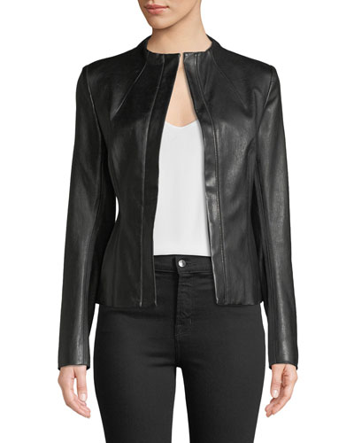 Sculpted Zip-Front Bristol Lamb Leather Jacket