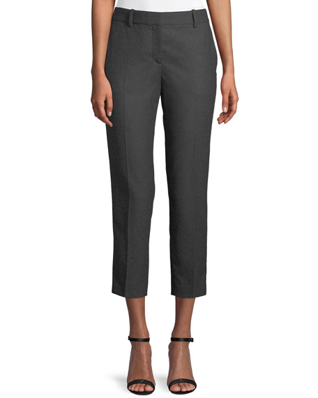 Trecca 2 Straight-Leg New Pure Flannel Cropped Pants in Gray