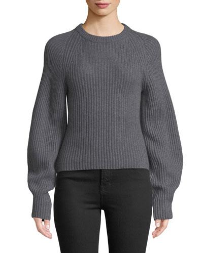 Huron Sculpted-Sleeve Crewneck Merino Wool Sweater