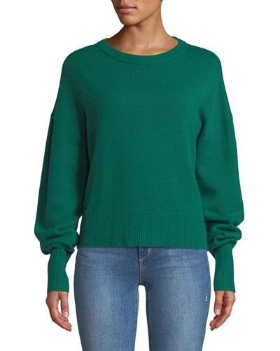 Crewneck Drop-Shoulder Long-Sleeve Cashmere Sweater