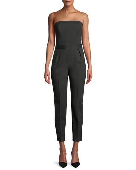 City Strapless Tux Wool Skinny-Leg Jumpsuit, Black