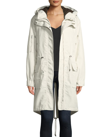 Textured Twill Nylon Winter Parka Jacket in White