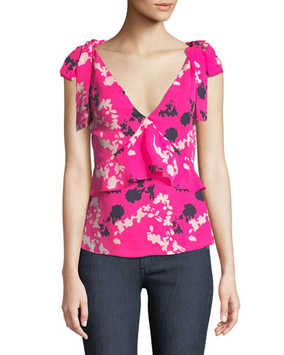 Sierra Floral Silk V-Neck Top
