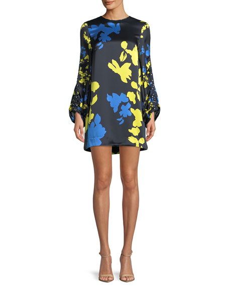 Florence Camo Printed Silk Mini Dress in Blue