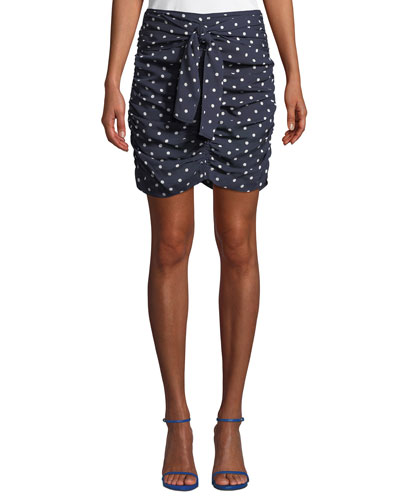 Ava Ruched Dot-Print Silk Georgette Skirt