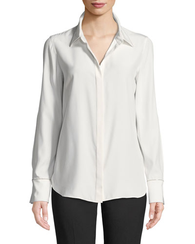 Scottie Matte Silk Blouse w/ Chain Trim
