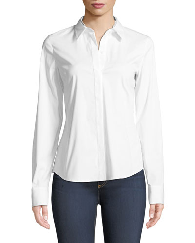 Phaedra Blouse in Italian-Stretch Cotton