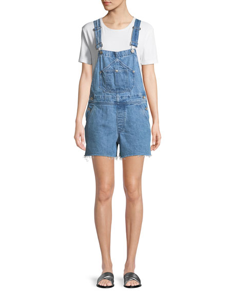 Patched Cutoff Short Dungaree Denim Overalls in Crystal Wash