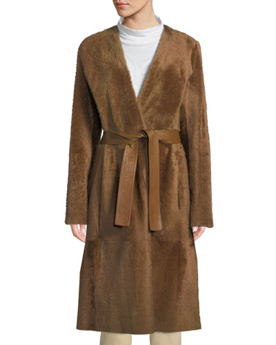 Reversible Belted Shearling Leather Coat