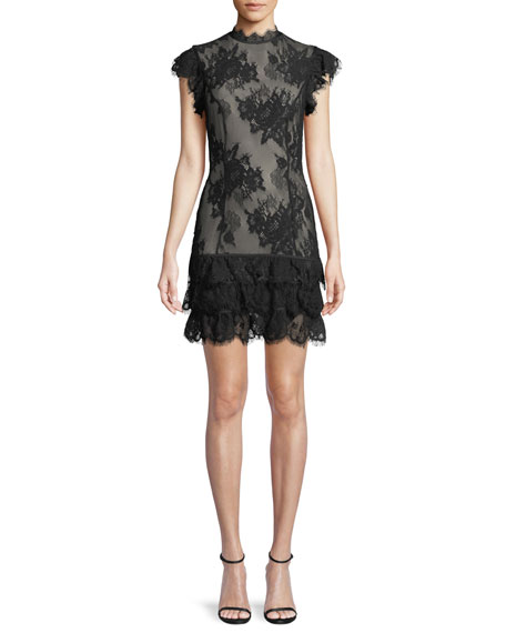 Misha FIONA SHEER FLORAL LACE MINI COCKTAIL DRESS