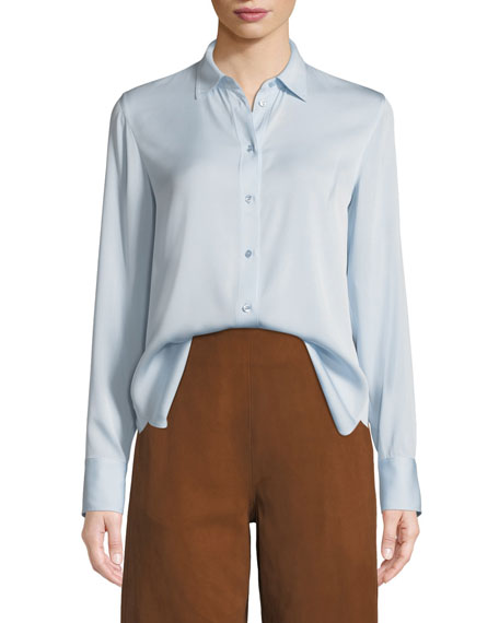 Long-Sleeve Silk Button-Front Top