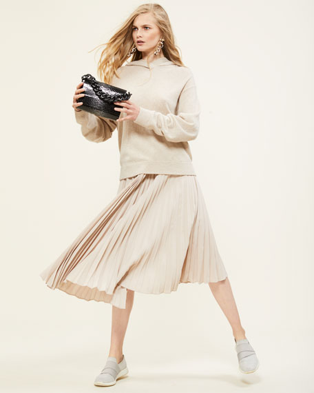 Draped Pleated Midi Skirt