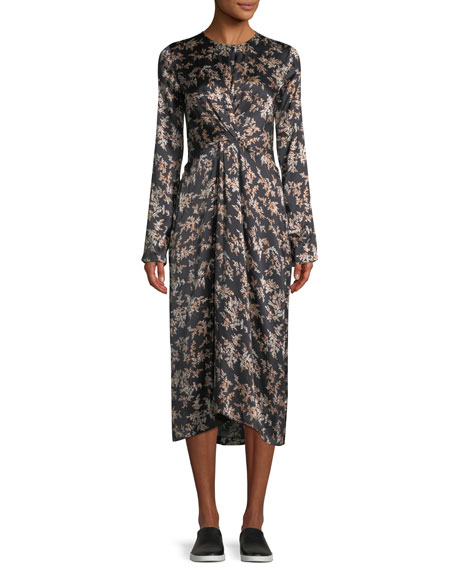 Image 1 of 1: Eden Leaf-Print Twist-Front Silk Midi Dress