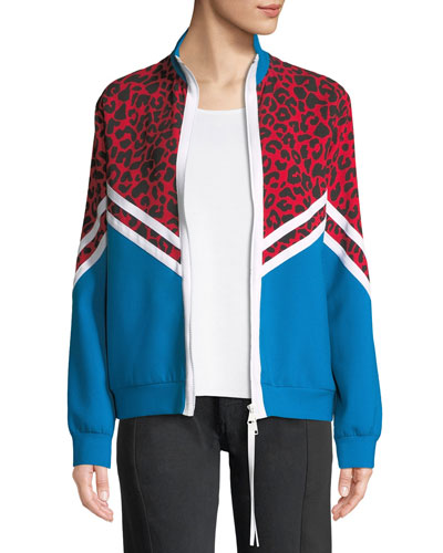 Colorblock Cheetah Zip-Front Jacket