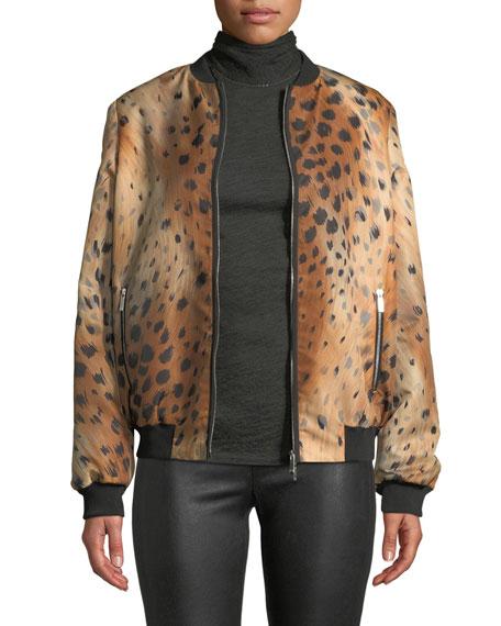 Lafayette 148 New York Melrose Zip-Front Leopard-Print Tech