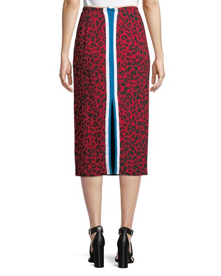 Leopard-Print Striped Midi Skirt