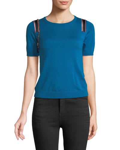 Short-Sleeve Wool-Silk Sweater w/ Embellishments