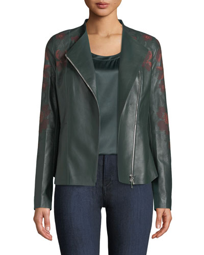 Aimes Zip-Front Floral-Embroidered Lambskin Leather Jacket