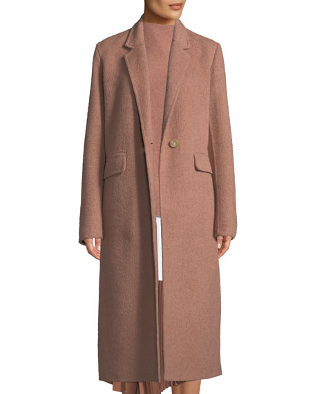 Single-Button Wool Long Coat