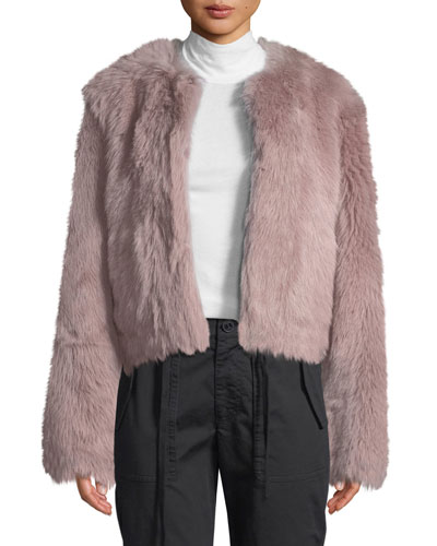 Cropped Shearling Fur Coat