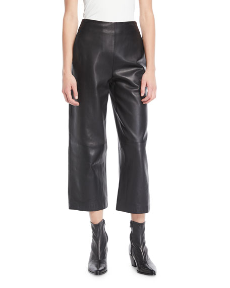 High-Rise Cropped Leather Culotte Pants