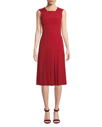 Pleated Sleeveless Midi Dress