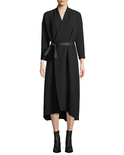 Belted 3/4-Sleeve Wrap Midi Dress