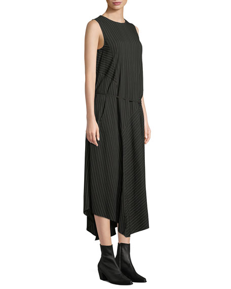 Striped Sleeveless Self-Tie Midi Dress