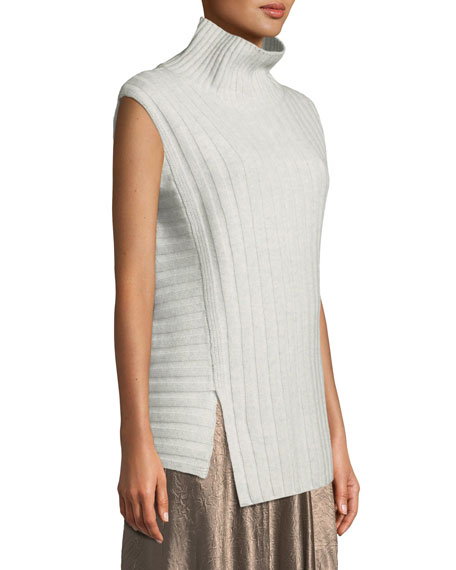 Vince Mixed Rib Wool Cashmere Turtleneck Sweater