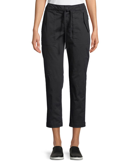 Cropped Straight-Leg Utility Pants