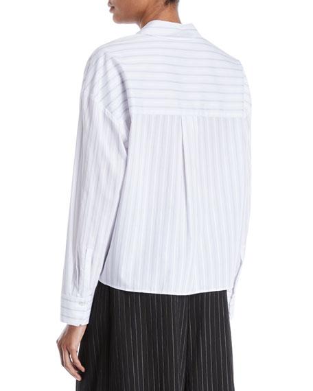 Boxy Pinstripe Button-Front Shirt