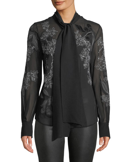 Lisanna Tie-Neck Floral-Embroidered Silk Georgette Blouse