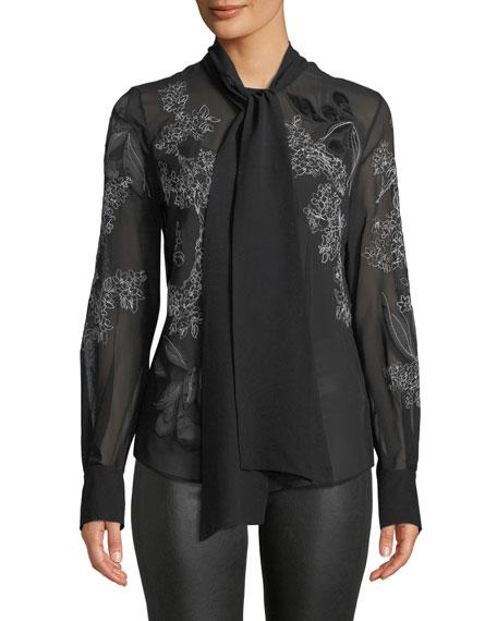 Lafayette 148 New York Lisanna Tie-Neck Floral-Embroidered Silk