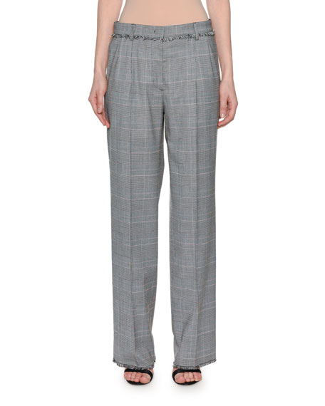 Wool Straight-Leg Plaid Trousers