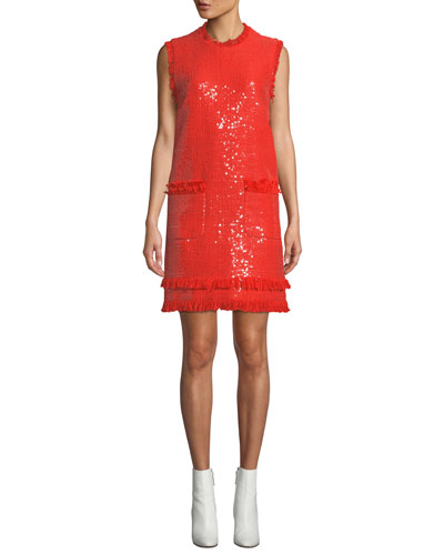 Sleeveless Sequin Crewneck Short Dress