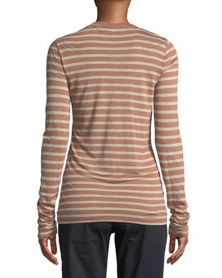 Striped Long-Sleeve Crewneck Top