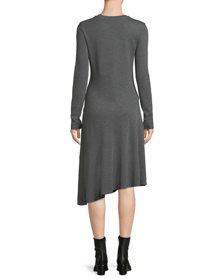Long-Sleeve Asymmetric Midi Dress