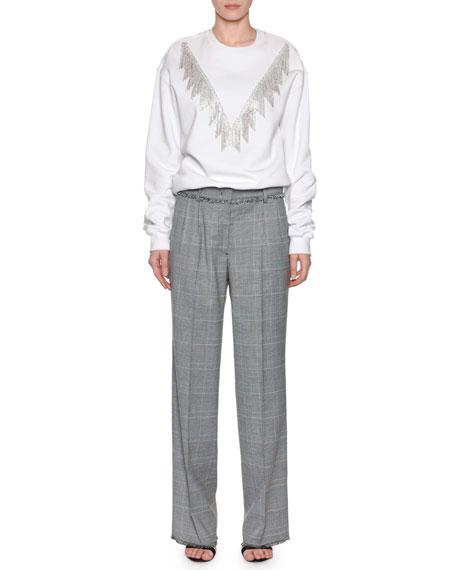 Crystal-Fringe Crewneck Pullover Sweatshirt