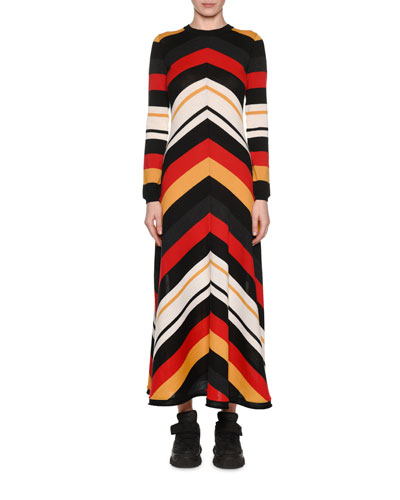 Striped Long-Sleeve Crewneck Maxi Dress