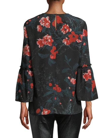 Roslin Bell-Sleeve Top w/ Terrace Florets
