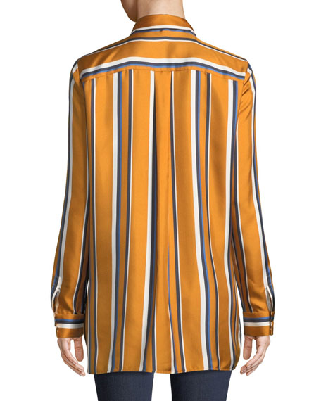 Barry Long-Sleeve Button-Front Striped Silk Blouse