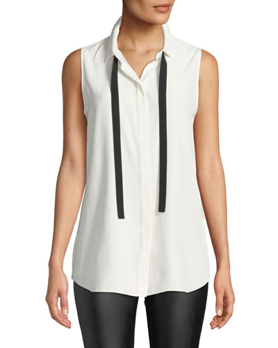Dorete Button-Front Sleeveless Silk Blouse w/ Chain Detail
