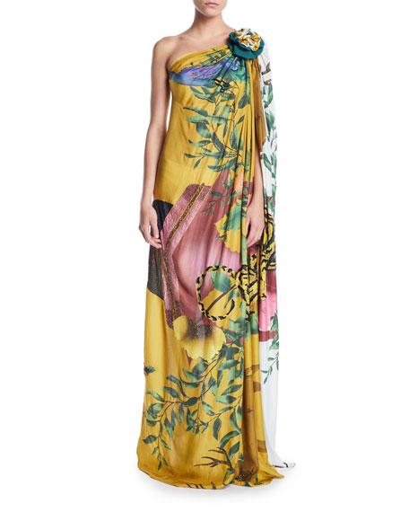 Verandah Dresses HAND-BEADED TIGER ONE-SHOULDER TOGA DRESS