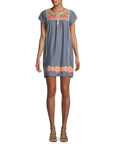 Embroidered Short-Sleeve Tunic Coverup