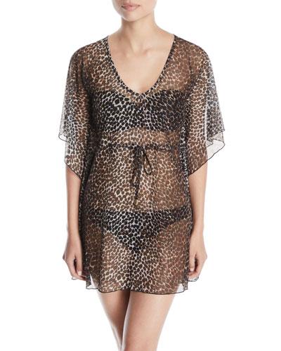 Leopard-Print Mesh Coverup Tunic