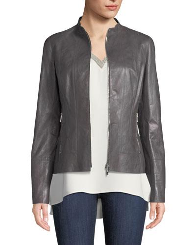 Sadie Zip-Front Glazed Lightweight Lambskin Leather Jacket