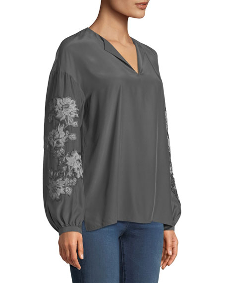 Aquila Split-Neck Embroidered Sleeve Matte Silk Blouse