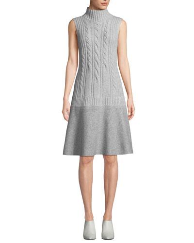 Turtleneck Sleeveless Cable-Knit Cashmere Dress w/ Needle Punch Hem